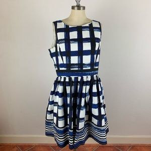 Eliza J Blue Window Pane Flare Dress